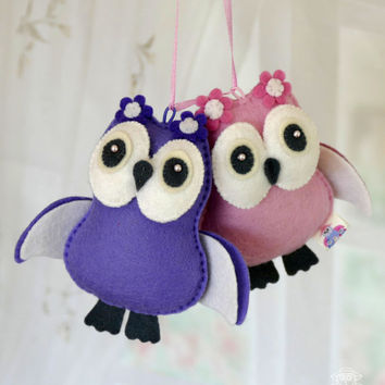 Owl Plush Nursery decor Bird decor Baby mobile toy  Baby shower Newborn gift Personalised baby present Baby garland New Mom Gift Eco toys