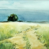 Romantic Landscape Watercolor Painting, Way to Nowhere, Original Fine Art,  Realistic Painting