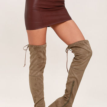 Anita Taupe Suede Over the Knee Boots