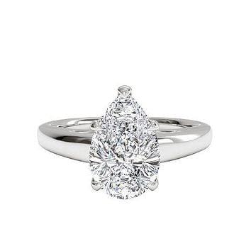 5CT Perfect Pear Cut Solitaire Russian Lab Diamond  Engagement Ring