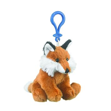 4 Inch Red Fox Stuffed Animal Clips for Kids Backpack Toy