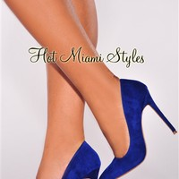 Royal Blue Faux Suede Point Toe High Heel Pumps