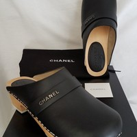 "NIB CHANEL Black Leather Clogs with Dust Bags-Women's SZ EUR 37.5-""SALE 10% OFF"""