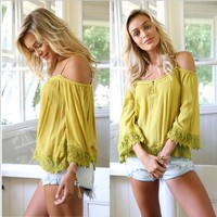 Off-shoulder Pure Color Lace Patchwork Casual Spaghetti Strap Blouse