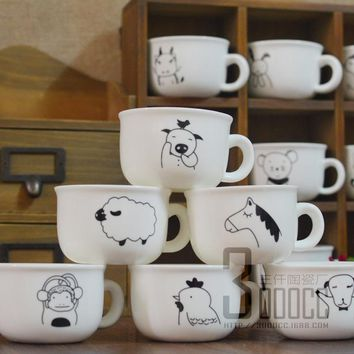 120ML Zodiac Cartoon Ceramic Cup Creative Cartoon Mugs