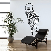 Jellyfish Wall Decal Scuba Tentacles Deep Sea Ocean Fish Wall Decals Vinyl Sticker Interior Home Decor Vinyl Art Wall Decor Bedroom SV5822