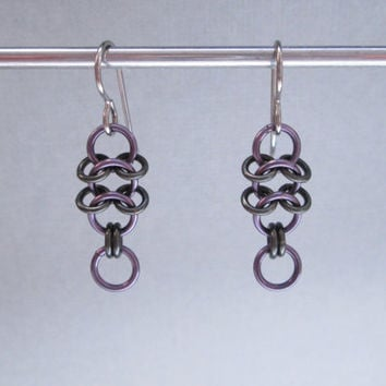 Chainmaille Jewelry, Small Dangle Earrings Purple Dangle Earrings Hypoallergenic Earrings Chain Mail Jewelry Chainmail, Chain Maille Jewelry