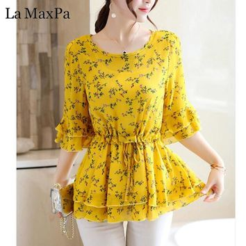 2018 New Summer Blouse Women Shirts Floral Print Chiffon Short Sleeve Vintage Women's Fashion Blouses Office Ladies Tops Bow