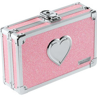 Vaultz Pencil Box with Key Lock, Pink Bling with Heart (VZ00130)