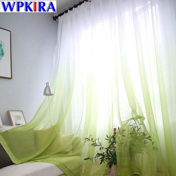 Fashion Princess Green Tulle Curtain Window Curtain Drapes Sheer Blue Voile Kitchen Curtain Living Room Balcony Door Cortina 3
