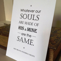 Postcard Wuthering Heights by Emily Bronte Quote Typography Design
