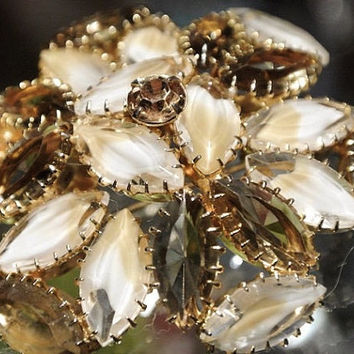 Givre Rhinestone Brooch Art Glass Brooch 1960s 60s Mid Century Brooch Artisan Hand Crafted Hand Prong Set Rhinestones Wedding Christmas NYE