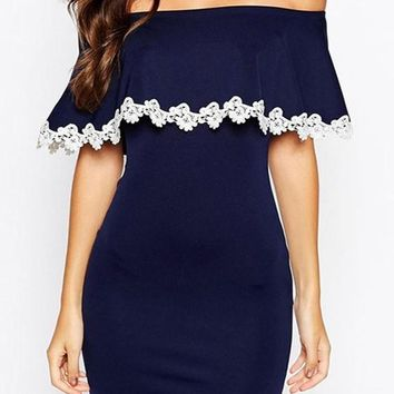 Streetstyle  Casual Navy Blue Patchwork White Lace Ruffle Boat Neck Mini Dress