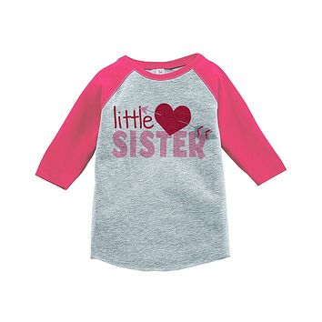 Custom Party Shop Girl's Little Sister Happy Valentine's Day Pink Raglan