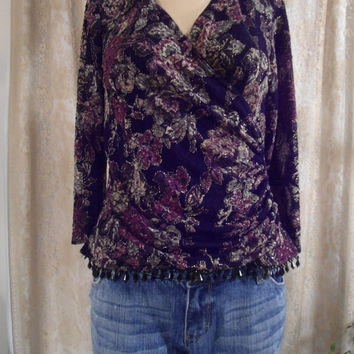 Size Medium/Large Womens Beaded Blouse Black Glass Bead Trim Shoulder Pads Vintage 90's Boho Bohemian Gypsy Style Clothing Victorian Blouse
