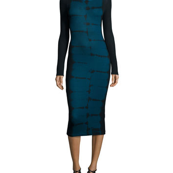 Myra Tiger-Wash Long-Sleeve Midi Dress, Navy, Size:
