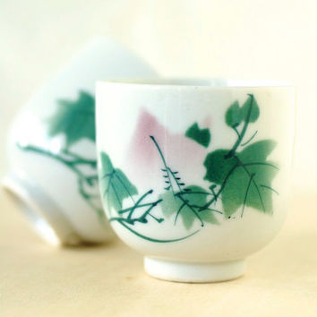 Vintage Teacups Japanese Porcelain Pink and Green Garden Scene Set of Two