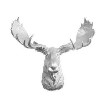 The Alberta | Moose Head | Faux Taxidermy | Silver Resin