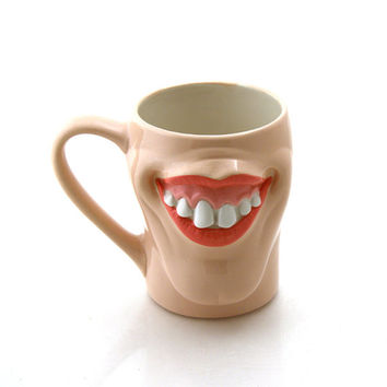 Funny mug with lips and big teeth, face mug, big mouth mug, funny gift, novelty and gag gifts, pottery and ceramic