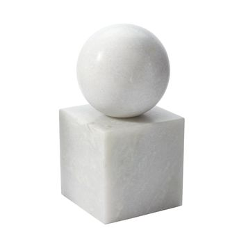 White Marble Minimalist Bookend