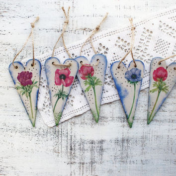 Wooden hearts heart ornaments anemone wedding favors Valentines day decor Valentine gift off white blue green lilac pink bridal shower
