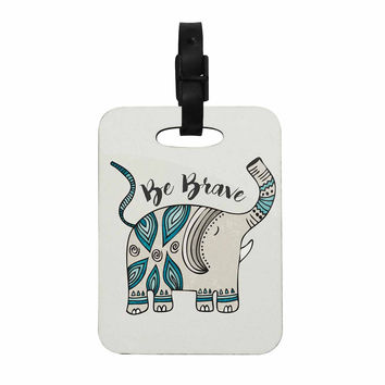 "Pom Graphic Design ""Be Brave"" Teal Typography Decorative Luggage Tag"