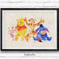 Winnie the Pooh Poster, Disney Watercolor Art Print, Baby Nursery Bedroom Wall Art, Kids Decor, Not Framed, Gift, Buy 2 Get 1 Free