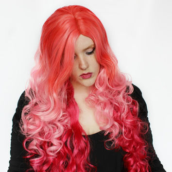 Sale - Red wig, Pink wig, Curly Long Cosplay wig, Lolita Dyed Hair Scene Pretty wig, Auburn Pastel Pink wig, Ombre wig // Strawberries