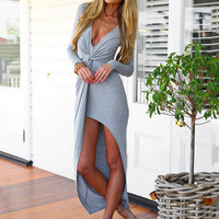 Long Sleeve V-Neck Mid Knot Asymmetrical Dress