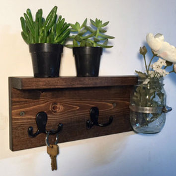 Wood Key Rack With Shelf Entryway Storage Rustic Holder W