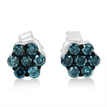 Sterling Silver 0.5ct TDW Treated Blue Diamond Floral Stud Earrings (Blue,I2-I3)