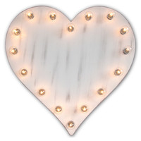Marquee Light-Up Heart, Whitewash, Signs