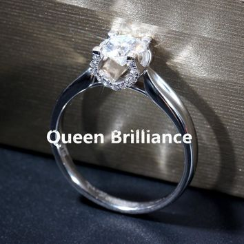 14KT White Gold Luxury 1 ctw F Color Lab Grown Diamond Engagement Ring