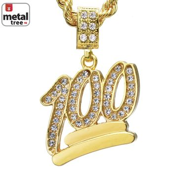 "Jewelry Kay style Men's Mini Hip Hop Iced Out 100 Emoji Pendant 24"" Cuban Link Necklace CPB 1068 G"