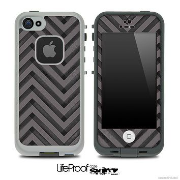 Sketchy Chevron Pattern Black and Gray Skin for the iPhone 5 or 4/4s LifeProof Case