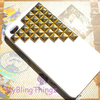 Gold Metal Pyramid Studs on Bright White Case Cover for Apple iPhone 4 4G 4S AT&T Verizon Sprint