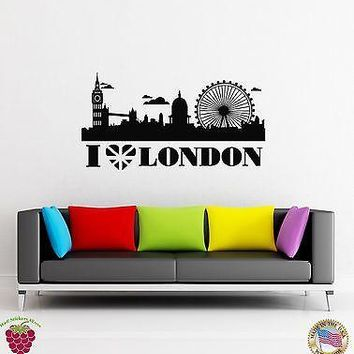 Vinyl Decal Wall Stickers I Love London England Travel Europe British Unique Gift (z1613)