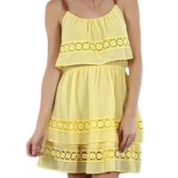 Flowy Yellow Tiered Dress w/Leather Straps