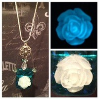 Rose on Dichroic Glass W/Swavorski Crystals/Sterling Silver Chain from Whimsy Glow
