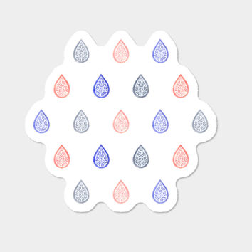 Coral Pink, Serenity Blue And Lilac Grey Droplets Sticker By Savousepate Design By Humans