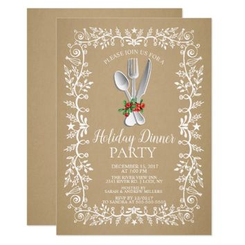 Kraft Elegant Holiday Christmas Dinner Invitation