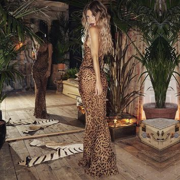 2018 Sexy Leopard Floor Length Maxi Dresses Mujer Autumn Slim Fit Ladies Party Club Dress Chiffon Spaghetti Strap Bodycon