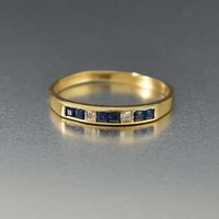 Estate 14K Gold Diamond and Sapphire Band Ring