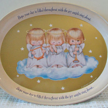 Hallmark Three Little Angels Serving Tray Retro Christmas Home Decor Vintage Holiday Tin