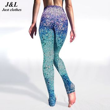 Mermaid Style Women Pants Summer New Sexy Casual Sea Beach Trouser Gradient Breathable Wicking Elastic Sportspants