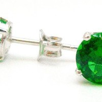 .925 Sterling Silver 6mm Green Round Shape Cubic Zirconia Stud Earrings