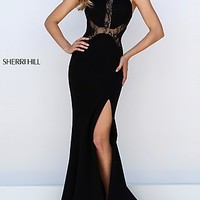 Sherri Hill Long Black Illusion Lace Dress