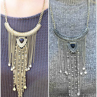 As Time Goes On Curved Bar Pendant Necklace With Chain Fringe
