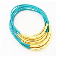 Bangle Bracelets-Turquoise leather- By LEATHER WRAPS