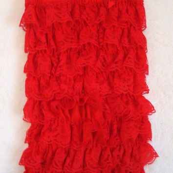 SALE-Red Lace Petti Ruffle Romper-Baby Girl Clothes-Newborn Girl-Infant-Child-Toddler-Dress Up-Birthday Outfit-Holiday Clothing-Chic-Baptism